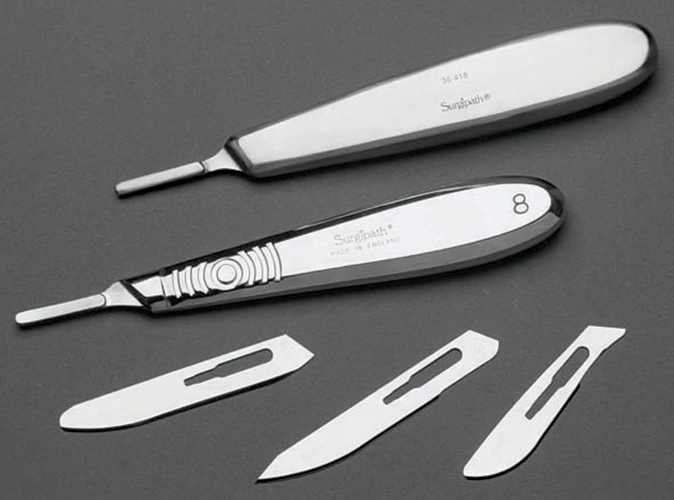 Unsterile Carbon Steel Blades - Point and Blunt Tipped 产品照片 Front View S
